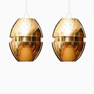 Lámparas colgantes de latón de Hans-Agne Jakobsson para Markaryd, años 50. Juego de 2