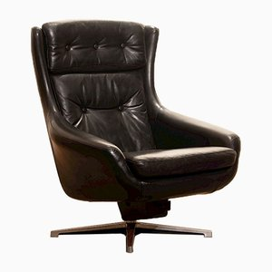 Black Leather Swivel Lounge Chair by Lennart Bender, 1960s