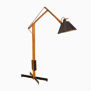 Black Lacquer & Teak Floor Lamp from Luxus, 1950s