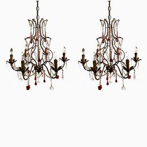 Lampadari vintage in cristallo con pendenti in vetro di Murano, set di 2