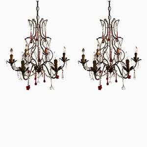 Vintage Crystal Chandeliers with Murano Pendants, Set of 2
