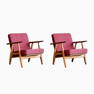 GE 240 Oak Cigar Easy Chairs by Hans J. Wegner for Getama, 1950s, Set of 2