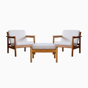 Model 227 Easy Chairs with Footstool by Borge Mogensen for Fredericia, 1960s, Set of 2