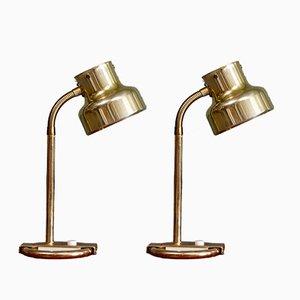 Lámparas de mesa Bumling de latón de Anders Pehrson para Atélje Lyktan, años 60. Juego de 2