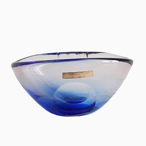 Mid-Century Seguso, Sommerso & Murano Glass Bowl by Flavio Poli for Mandruzatto
