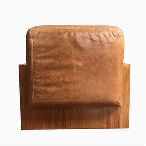 Mid-Century Leather Pouf