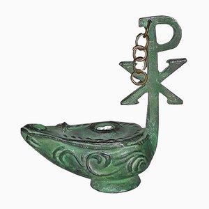 Lampe à Huile Antique Romaine en Bronze avec Symbole Chi Rho