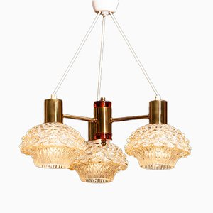 Brass and Crystal Chandelier by Carl Fagerlund for Orrefors, 1950s