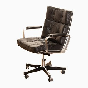Adjustable Black Leather Swivel Chair by Karl Erik Ekselius for JOC Möbler, 1970s