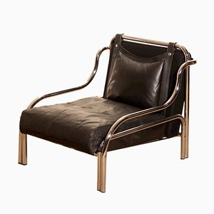 Italian Black Leather Lounge Chair by Gae Aulenti for Poltronova, 1960s