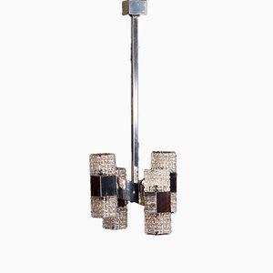Lámpara colgante de metal cromado con ocho puntos de luz de Gaetano Sciolari, años 60