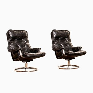 Chrome and Black Leather Swivel Chairs, 1970s, Set of 2