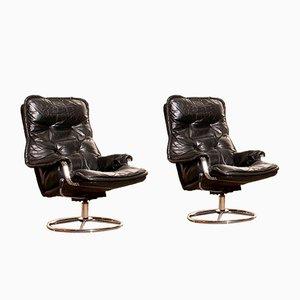 Sedie girevoli in pelle nera e placcata in cromo, anni '70, set di 2