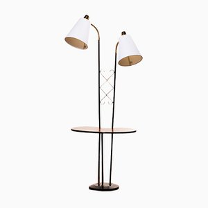 Metal & Brass Side Table/Floor Lamp, 1950s
