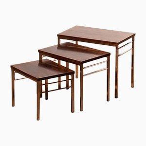 Rosewood & Chrome Nesting Tables