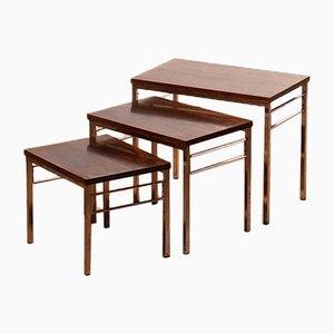 Tavolini ad incastro in palissandro e placcato in cromo
