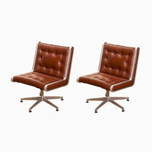 Norwegian Cognac Leather Swivel Chairs, 1970s, Set of 2