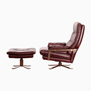 Leather Lounge Chair & Ottoman by Arne Norell for Vatne Møbler, 1960s
