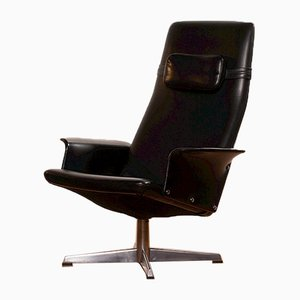 Black Leatherette Swivel Lounge Chair from Bodafors, 1960s
