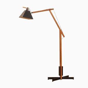 Teak & Metall Stehlampe von Luxus, 1950er