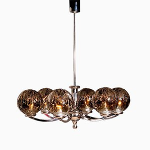 Vintage Clear & Smoked Crystal Chandelier with Chromed Metal Structure from Kaiser Leuchten
