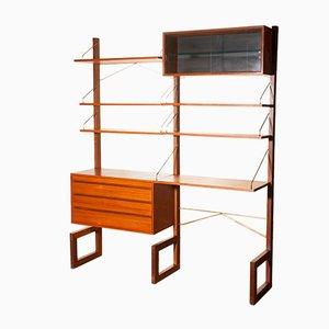 Freistehendes Teak & Messing Regalsystem von Poul Cadovius für Cado, 1960er