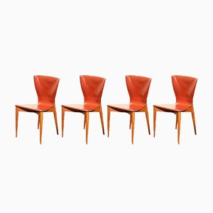 Mid-Century Modern Cognac Dining Chairs by Carlo Bartolli for Matteo Grassi, Set of 4