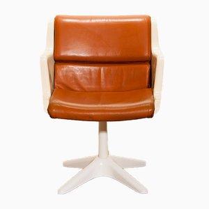 Sedia da scirvania in pelle color cognac, fibra di vetro e metallo di Yrjö Kukkapuro per Haimi, anni '70
