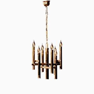 Lámpara de araña dorada de Gaetano Sciolari, años 60
