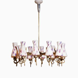 Brass Murano Chandelier from Venini, 1940s
