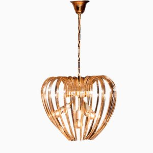 Partly Gilded Crystal & Brass Chandelier from Venini, 1960s