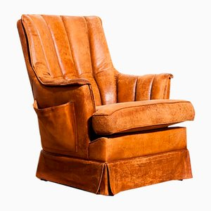 Cognac Colored Sheep Leather Armchair, 1940s