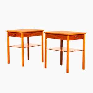 Teak Nightstands or Bedside Tables from Säffle, 1950s, Set of 2