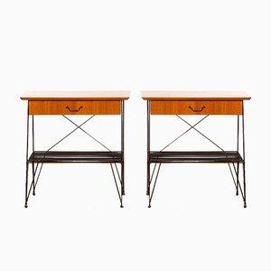 Tables de Chevet ou d'Appoint en Teck et Métal, 1950s, Set de 2