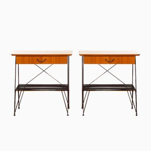 Teak & Metal Wire Nightstands or Side Tables, 1950s, Set of 2