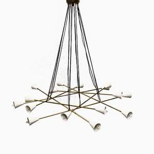 Italian Mid-Century Chandelier in Brass from Stilnovo