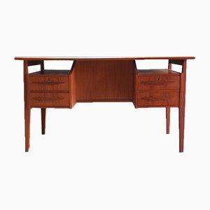 Dänischer Schreibtisch mit Schubladen und Barfach, 1960er