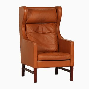 Danish High Back Chair with Cognac Leather by Skipper Møbler, 1980s