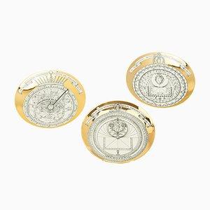 Piatti Astrolabio di Piero Fornasetti, anni '60, set di 3