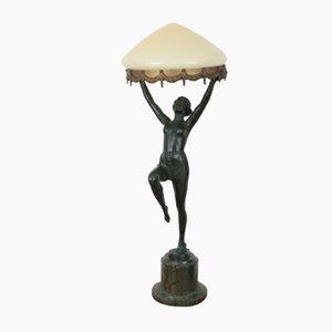 Deutsche Art Deco Lampe mit Figur aus Zinkguss, 1930er