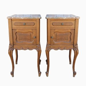 Antique French Bedside Cabinets with Marble Tops, Set of 2