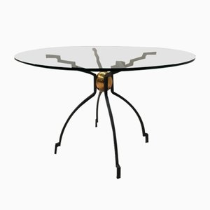Vintage Brass & Glass Dining Table by Peter Ghyczy
