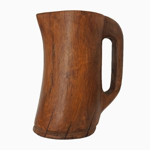 Handgeschnitzter Freiform Krug aus Holz, 1950er