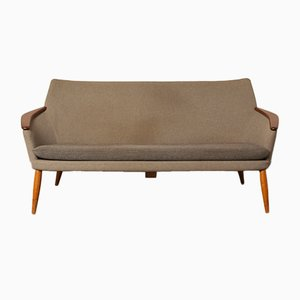 Mid-Century Teak & Wolle Couch von Bovenkamp