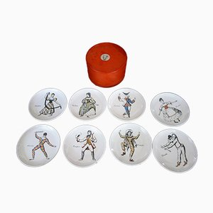 Maschere Italiane Plate Set by Atelier Fornasetti, 1960s, Set of 8