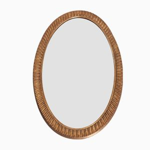 Large Oval Mirror with Grooved & Gilded Metal Frame, 1970s