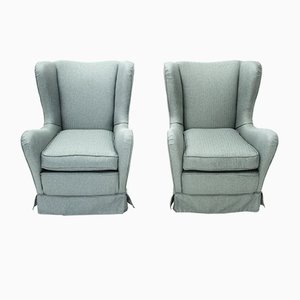 Italian Blue-Gray Armchairs, 1950s, Set of 2