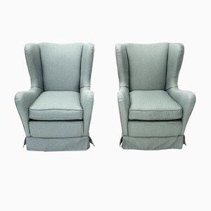Italian Blue-Gray Armchairs, 1950s, Set of 2