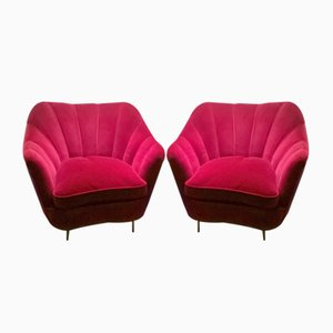 Red Velvet Armchairs by Guglielmo Ulrich, 1940s, Set of 2