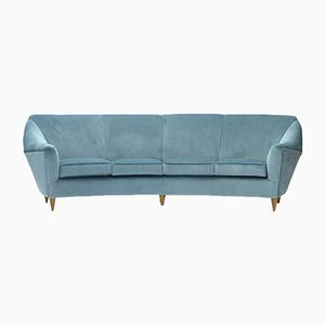 Italian Four-Seater Sofa in Azure Velvet, 1950s